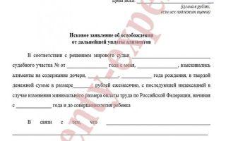 Образец искового заявления о прекращении взыскания алиментов