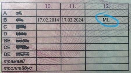 Что означает as на водительском удостоверении в пункте 12