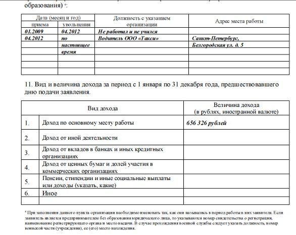 Заявление на вид на жительство: бланк, образец заполнения
